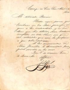 Carta de Lopez a Bareiro_Abril 1864